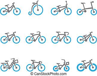 tonalité, bicycles, duo, -, icônes
