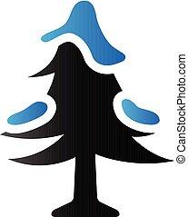 tonalité, duo, -, arbre, noël, icône