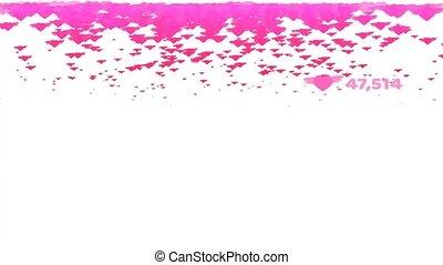 tonalité, million, valentin, espace, rose, texte, tomber, compte, pluie, aile, copie, cœurs