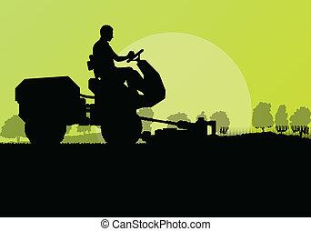 tondeuse gazon, découpage, vecteur, fond, herbe, paysage