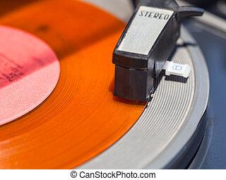 tonearm, de, record-player, ligado, laranja, disco vinil