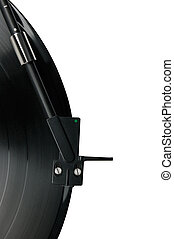 Tonearm on vinyl LP, black green dot headshell, isolated macro