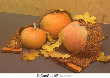 toned autumn background with leaves, nuts and pumpkin