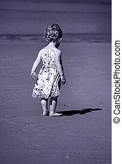 toned bleu, elle, image, minuscule, girl, ombre