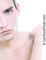 toned bleu, homme, jeune, beau