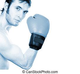 (toned, boxeur, jeune, blanc, blue), isolé