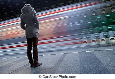 toned, image), &, colorare, (motion, sfocato, stazione,...