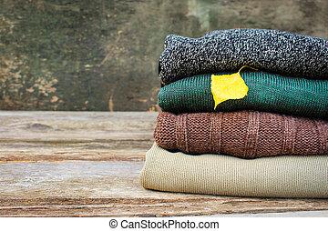 toned, image., coloridos, madeira, experiência., morno, pilha, roupas