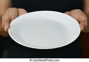 toned, image), kvinna, henne, färg, (plate), (shallow, ung, dof;, holdingen, skål, vit, hand.
