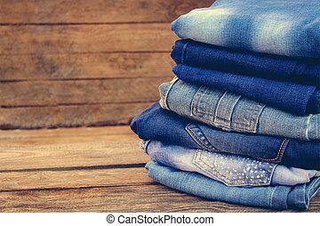 toned, image., madeira, calças brim, experiência., pilha, roupas