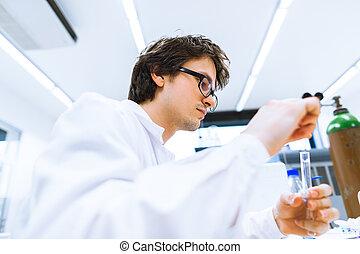 toned,  image), scientifico, ricercatore,  (shallow, giovane, laboratorio, ricerca, colorare,  dof, portante, maschio, fuori