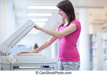toned, image), vrouw, kleur, (shallow, jonge, machine, dof;,...