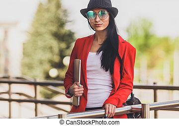 toned, kvinna, image., arbete, laptop, ung, hipster,...