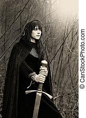 toned), moyen-âge, (sepia, épée, portrait, dame