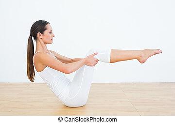 toned, mujer, postura, estudio, condición física, barco