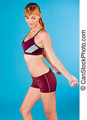 toned, mulher, sportswear