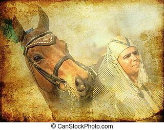 toned, paarde, pharaoh, ouderwetse