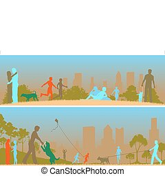 Two editable vector designs of people in a city park