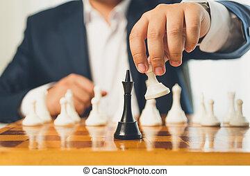 toned, pegno, foto, spostare, scacchi, fabbricazione, uomo affari, cartoncino bianco