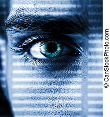 Toned Photo of Intent Gaze with an Eye closeup