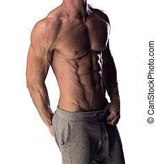 toned, physique, muscular, homem