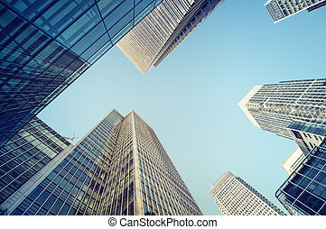 Toned picture of Canary Wharf, financial district in London.