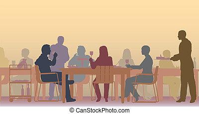 Toned restaurant - Editable vector scene of people eating in...