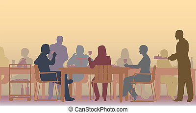 Toned restaurant - Editable vector scene of people eating in...