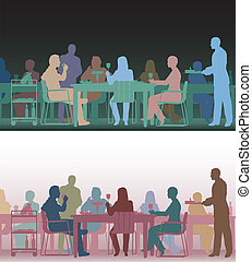 Toned restaurant - Two color versions of the same editable...