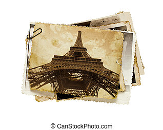 toned, sepia, cartão postal, vindima, eiffel, paris, torre