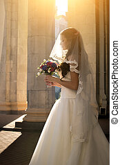 toned, sole, giovane, contro, sposa, luminoso, proposta, stree, ritratto