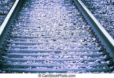 toned, stil, foto,  -,  retro, Järnväg