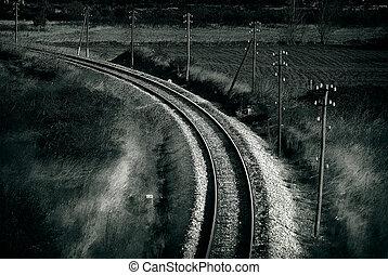 toned, stil, gammal, foto,  retro, järnväg, artistisk