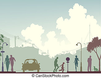 Toned street - Editable vector silhouette of a busy street...