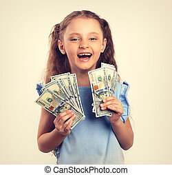 toned, tenencia, vendimia, mano., reír, rico, dinero, retrato, niña, niño, feliz