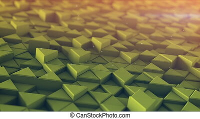 Toned triangles mosaic extruding 3D render loopable...