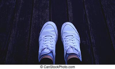 toned, vrouw, ouderwetse , gymschoen, kleuren, mode, hipster, witte , koel