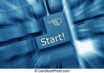 toned)., -, zoom, verkan, start, nyckel, tangentbord, ...