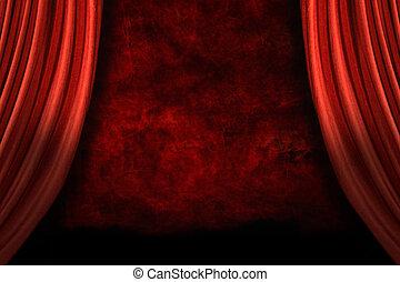 toneel, drapes, met, grunge, achtergrond