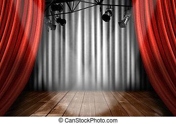 toneel, theater, toneel, met, schijnwerper, opvoering,...
