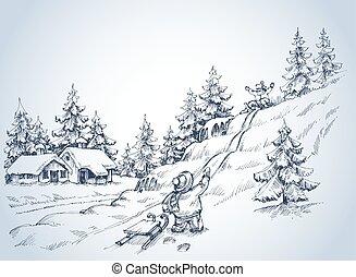 toneelstuk, achtergrond, kinderen, winter, sneeuw