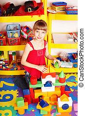 toneelstuk, blok, room., preschool., bouwsector, raadsel, set, kind