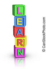 toneelstuk, blokjes, :, leren