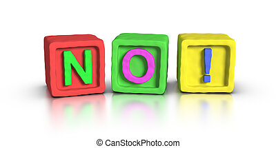 toneelstuk, blokjes, :, nee, !