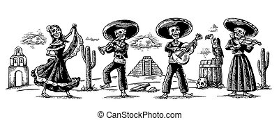 toneelstuk, de, mexicaanse , skelet, nationale, guitar.,...