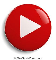toneelstuk, drukknop, rood, cirkel