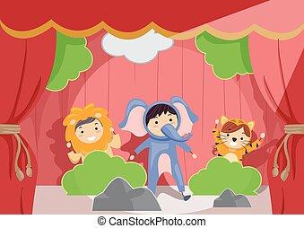 toneelstuk, geitjes, stickman, illustratie, rol, dier...