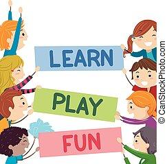 toneelstuk, geitjes, stickman, tekst, leren, plezier, banieren