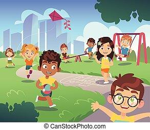 toneelstuk, geitjes, tuin, amusement, natuur, kinderen, spotprent, playground., buiten, achtergrond, activiteit, plezier, spelend, preschool, geitje