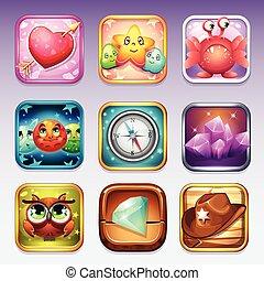 toneelstuk, google, de pictogrammen van de computer, app, ...
